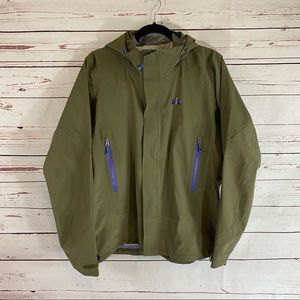 REI Womens Olive Green Zip up Raincoat Hooded